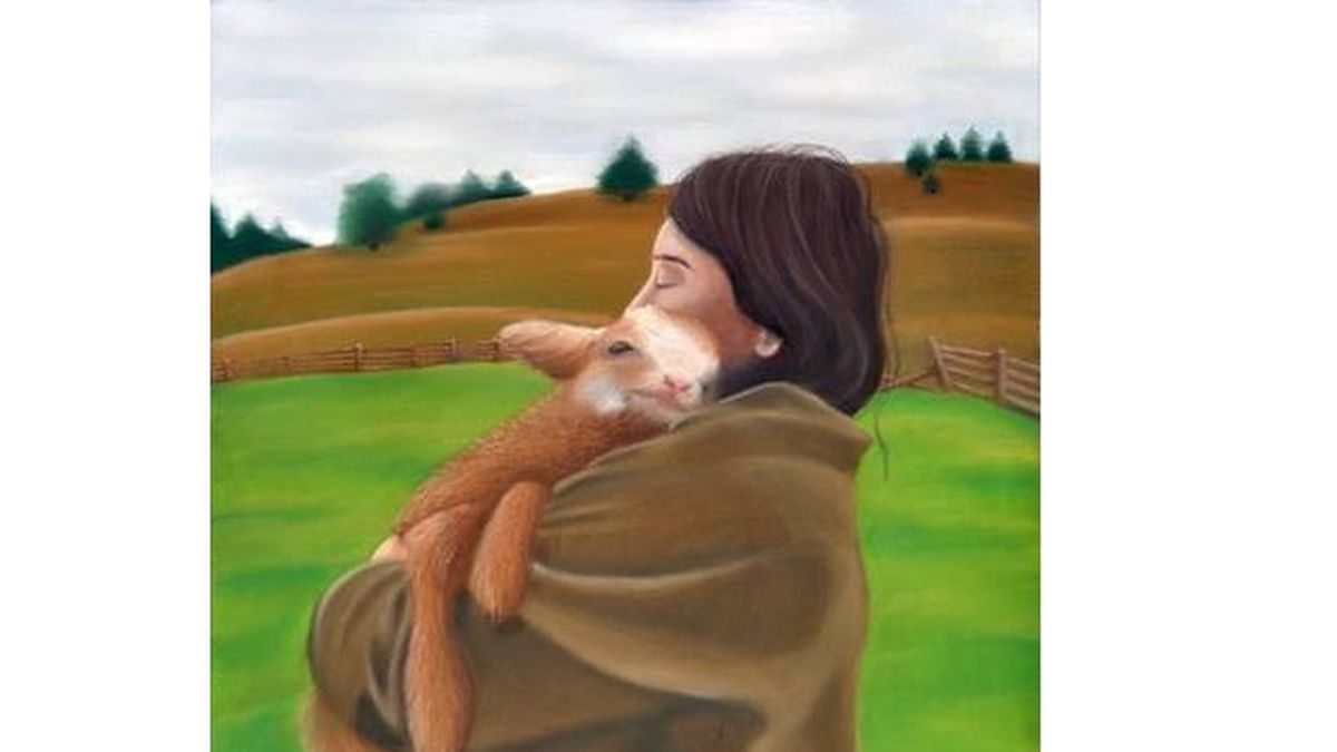 """Artemis, Goddess of Wild Animals"" is a chalk pastel portrait by Charity King depicting a soft and affectionate embrace between a woman and a young goat. (Charity King)"