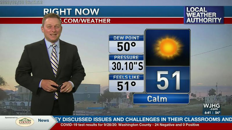 Meteorologist Ryan Michaels showing this morning's chilly temperature.