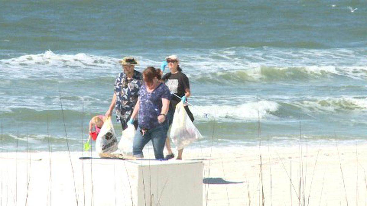 Volunteers stretched over two miles of beach, from the Bikini Beach Resort to Hampton Inn and Suites. (WJHG/WECP)