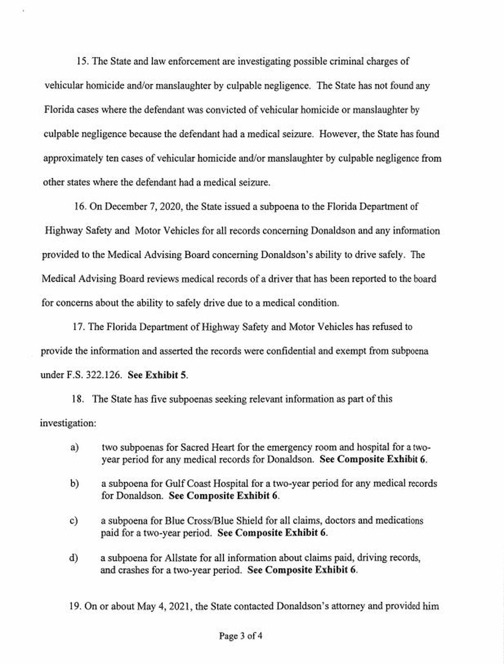 Page three of the motion filed by the State Attorney's office.