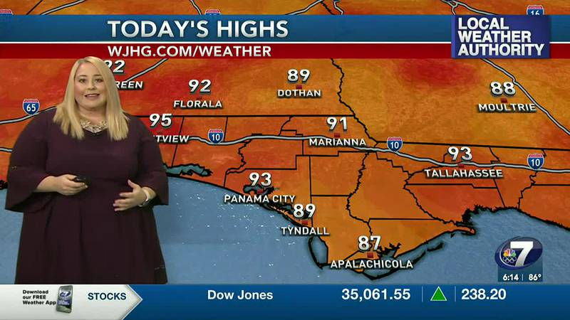 Meteorologist Jenny Brown showing today's high temperatures.