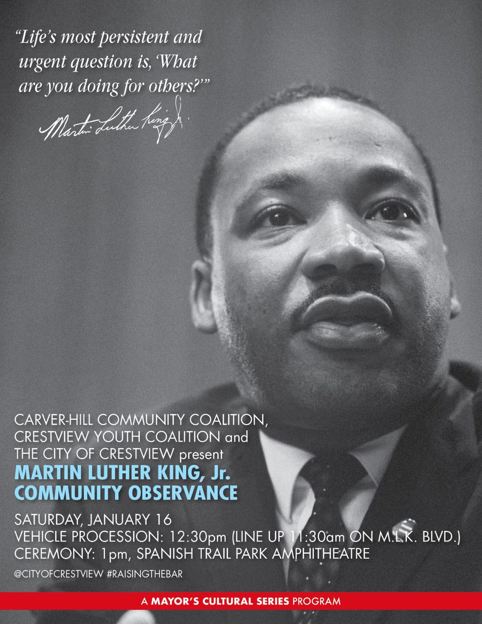 The city of Crestview will hold its MLK Commemoration events on Saturday, January 16.