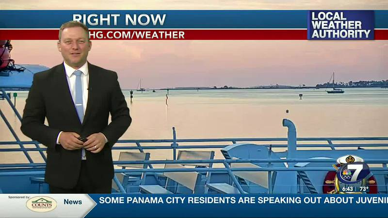 Meteorologist Ryan Michaels showing this morning's view over Grand Lagoon.