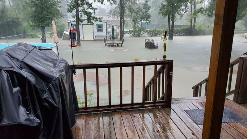 Starla's backyard gathered more than a foot of rain last weekend.