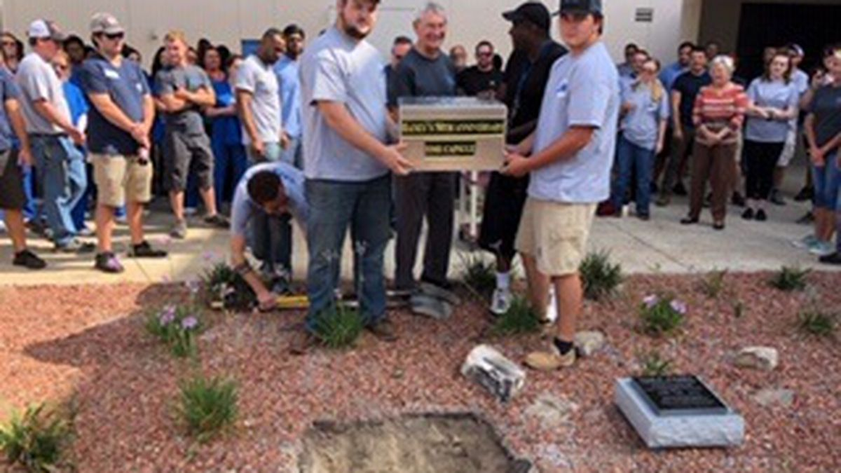 Haney students buried a time capsule on Friday to commemorate the school's 50th year. (Haney Technical Center)