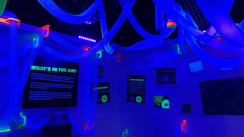 The new exhibit teaches visitors about how air moves.