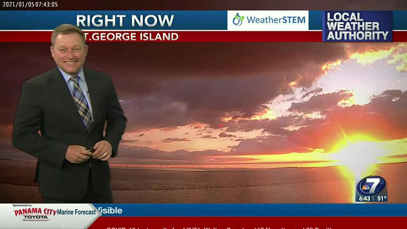 Meteorologist Ryan Michaels showing this morning's sunrise over St.George Island.