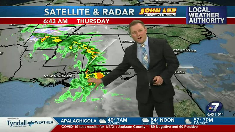 Meteorologist Ryan Michaels showing the showers moving into NWFL today.
