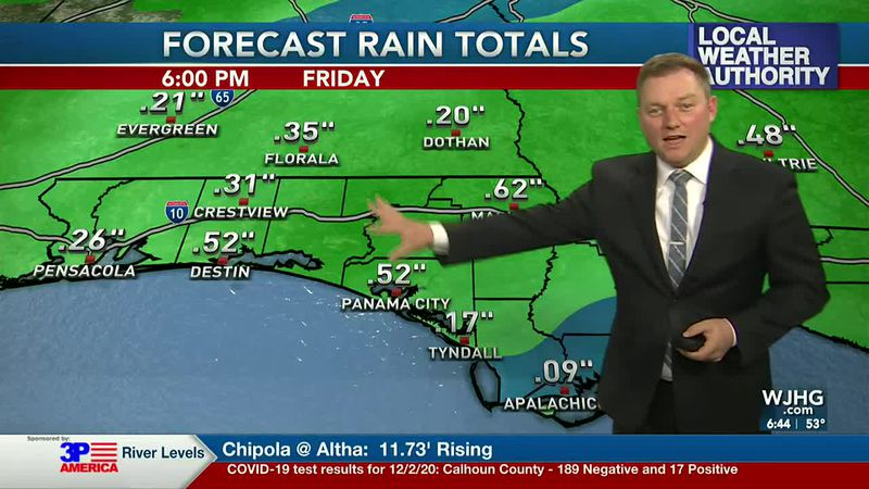 Meteorologist Ryan Michaels showing today's expected rain totals.