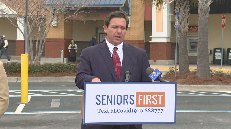 Governor Ron DeSantis held a press conference Tuesday outside of the grocery store chain he...