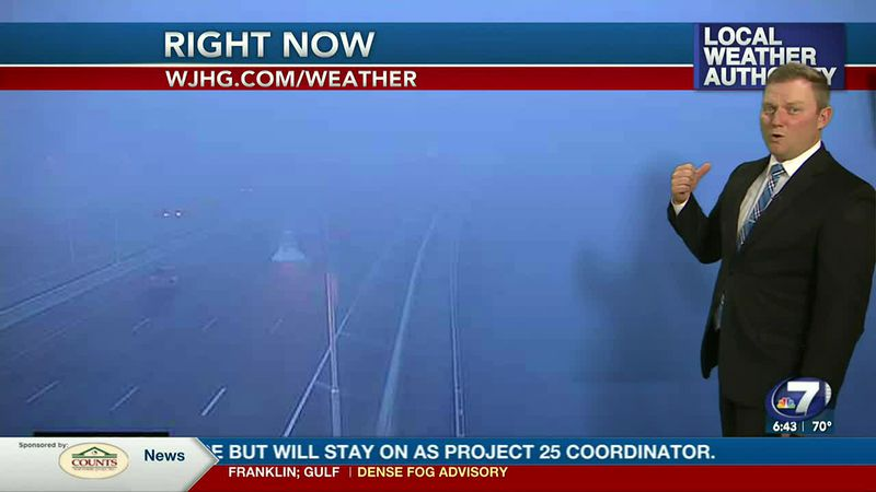 Meteorologist Ryan Michaels showing the foggy conditions on the coast this morning.