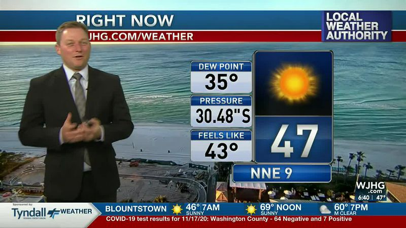Meteorologist Ryan Michaels showing this morning's conditions.