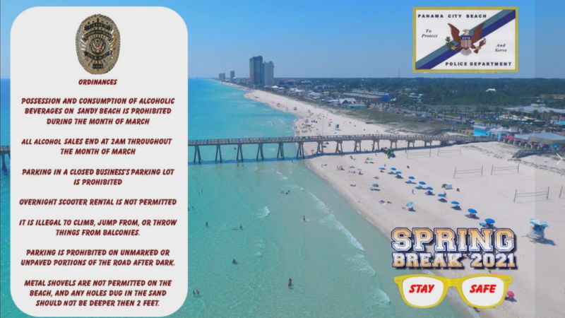 Panama City Beach Police Chief Drew Whitman said some of the laws include no alcohol on the...