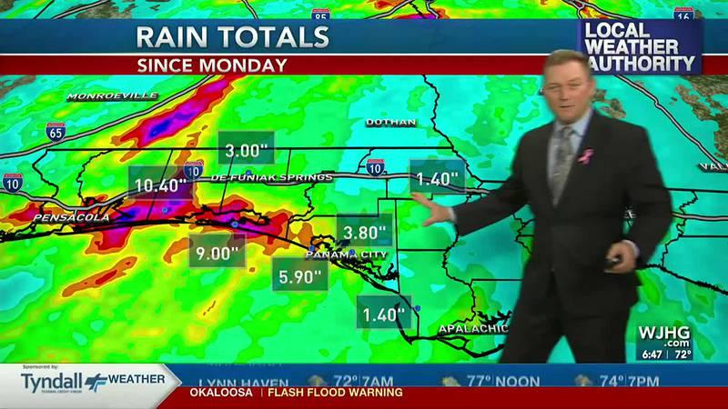 Meteorologist Ryan Michaels showing rain totals since Monday morning.