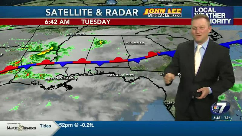 Meteorologist Ryan Michaels showing this morning's satellite and radar feed across the south.