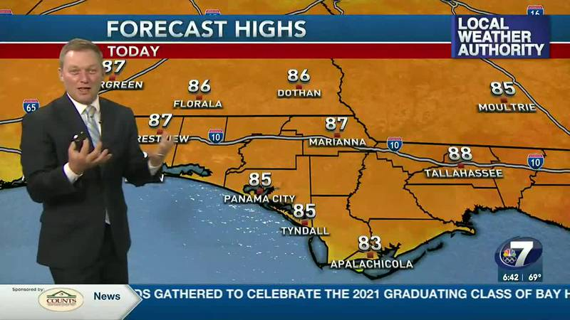 Meteorologist Ryan Michaels showing this afternoon's high forecast.