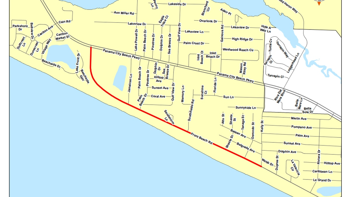 Commissioners approved the agreement for the design of a sidewalk on Front Beach Road from Kelly Street to SR 30A. (Bay County Government)