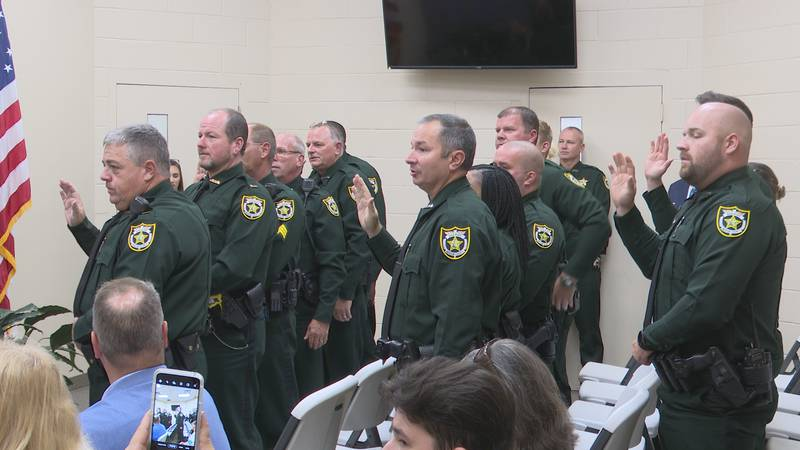 The Jackson County Sheriff's Office swore in 16 school resource officers Wednesday afternoon.