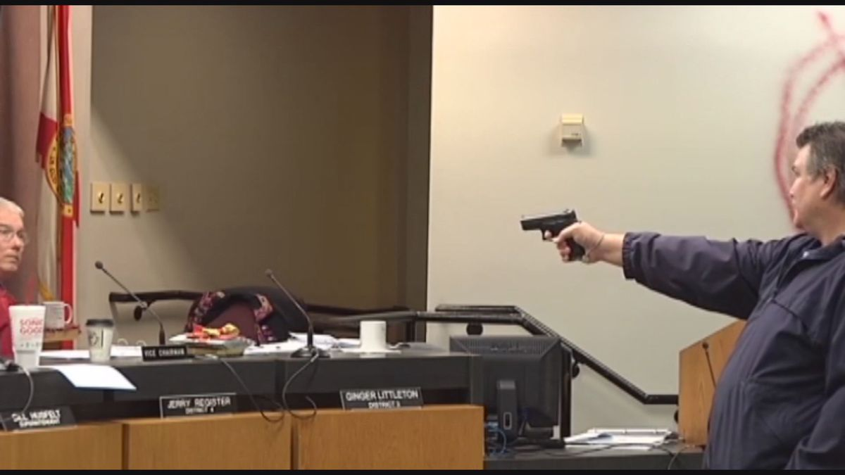 It was on December 14, 2010, that Clay Duke walked into the School Board meeting and pointed a gun at the Board members because of his wife being laid off from the district. (WJHG/WECP)