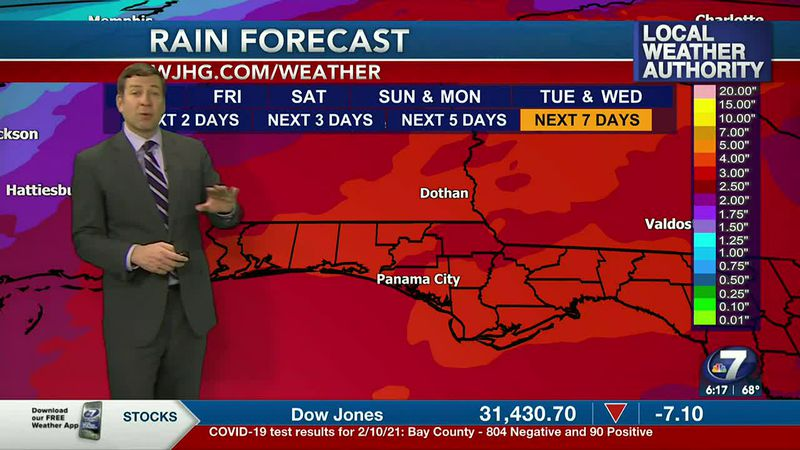 Rain will remain in the forecast over much of the next week.