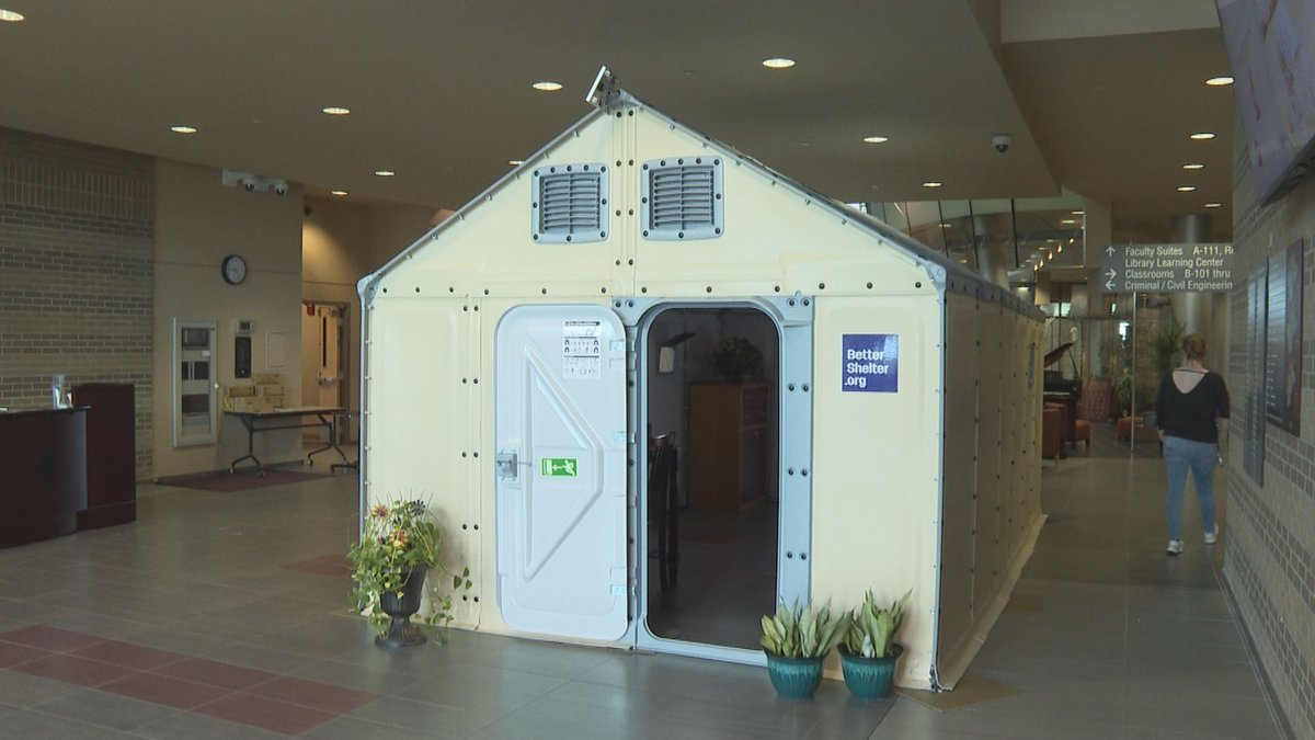 Rebuild Bay County displays IKEA Better Shelter at FSU Panama City. Officials believe the...