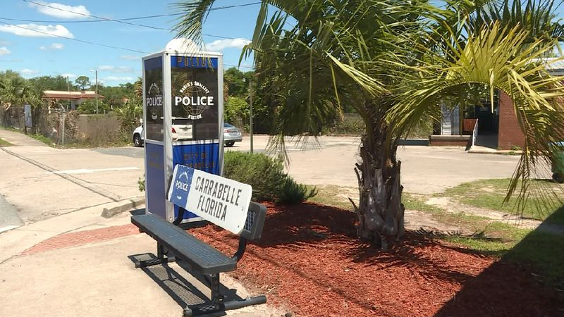 "A replica of once was the ""World's Smallest Police Station"" sits off Highway 98 in Carrabelle."