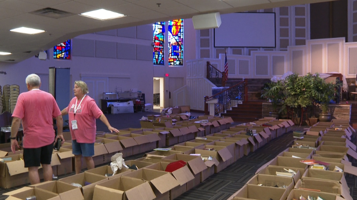 The church's Fellowship Chapel lost its roof in Hurricane Michael, and the rain that followed destroyed almost everything. (WJHG/WECP)