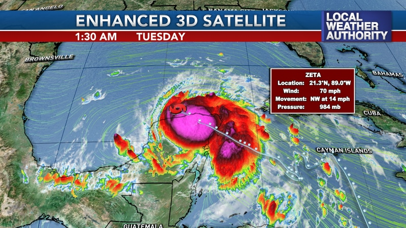Zeta weakened to a tropical storm early Tuesday morning over the Yucatan Peninsula.