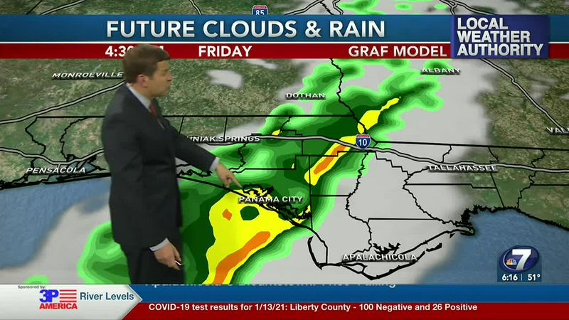 Rain moves into the panhandle tonight, but quickly exits.