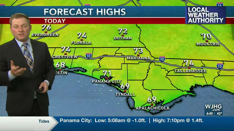 Meteorologist Ryan Michaels showing our Forecast Highs for today.