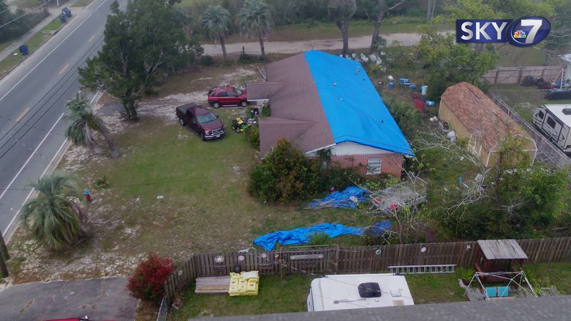 Some might be wondering why we're still seeing these blue tarps on homes two and a half years...